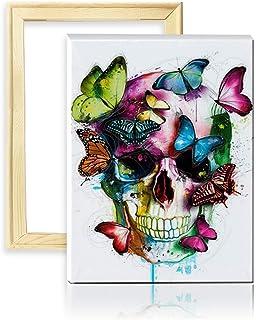 ufengke Kit Pintura de Diamantes 5D Cráneo de Mariposa Punto de Cruz Diamante Completo DIY para Amantes del Arte, con Marco de Madera, Diseño 25x35cm