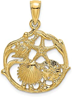 14k Yellow Gold Solid Mini Sea Shell Mermaid Nautical Jewelry Cluster Pendant Charm Necklace Shore Fine Jewelry Gifts For Women For Her