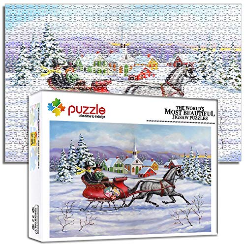 Generichaoge Challenging Puzzle Game For Adults Kids Puzzles 1000 Pieces Christmas Sleigh Horse Houses Difficult And Challenge 20.47 X 14.96 In