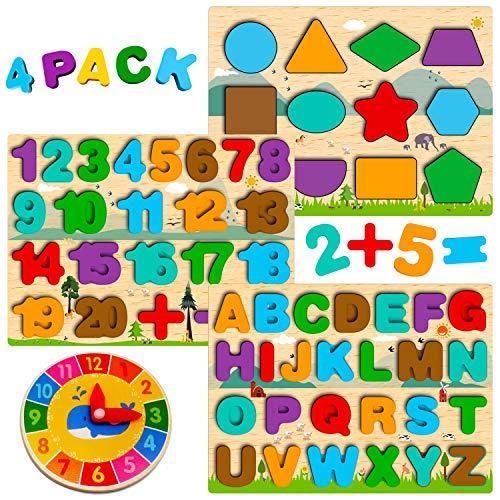Juguetes Montessori 1 2 3 4 5 años, Puzzles de Madera Infantiles, Rompecabezas de Números/Alfabeto/Forma, Tablero Montessori Abecedario, Juego Letras Juguetes Educativos Regalo Niñas Niños Pequeños
