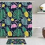 GOCHAN Duschvorhang,Tierliebhaber Nettes lustiges Esel-Muster-Digitaldruckbild, rutschfeste Badematte, Toilettenteppichanzug