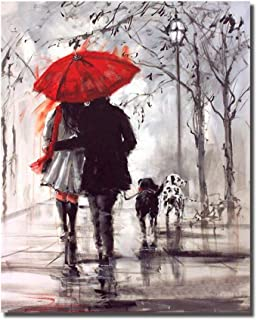 HVEST Lover Canvas Wall Art-Couple Walking in Rain with Red Umbrella Artwork Lovely Dogs Painting for Living Room Bedroom Bathroom Office Wall Decor,Stretched and Framed Ready to Hang,16x20 inches