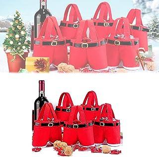 Hengyuan 5 pcs Santa Pants Style Sac, Sac créatif de Noël, Jolis Sacs de friandises Mignons, Sacs de décoration de Pantalo...