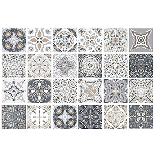 KAMIIN Fliesenaufkleber Mosaik 24 Stück, PVC Fliesensticker Fliesen Folie, Selbstklebende Tapete Aufkleber Klebefolie, Wasserdicht Wandaufkleber, Fliesenfolie für Küche, Schrank, Möbel, Tisch