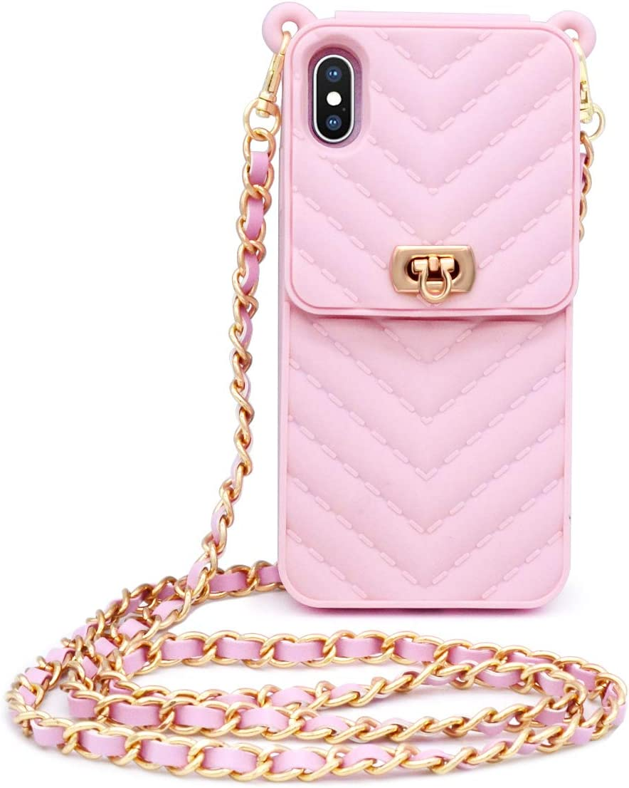LUVI for iPhone XR Wallet Case with Neck Strap Crossbody Chain Credit Card Holder Slot with Handbag Wrist Strap Protective Cover for Girls Women Silicone Shockproof Case for iPhone XR Pink