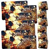 ADDIES Tischset & Glas-Untersetzer KOMBI-SET 12 teilig. mit Grill-Motiven Laminierte Platzsets & Glas-Untersetzer mit Korkunterseite in schöner Klarsicht-Geschenkbox / Motiv 10