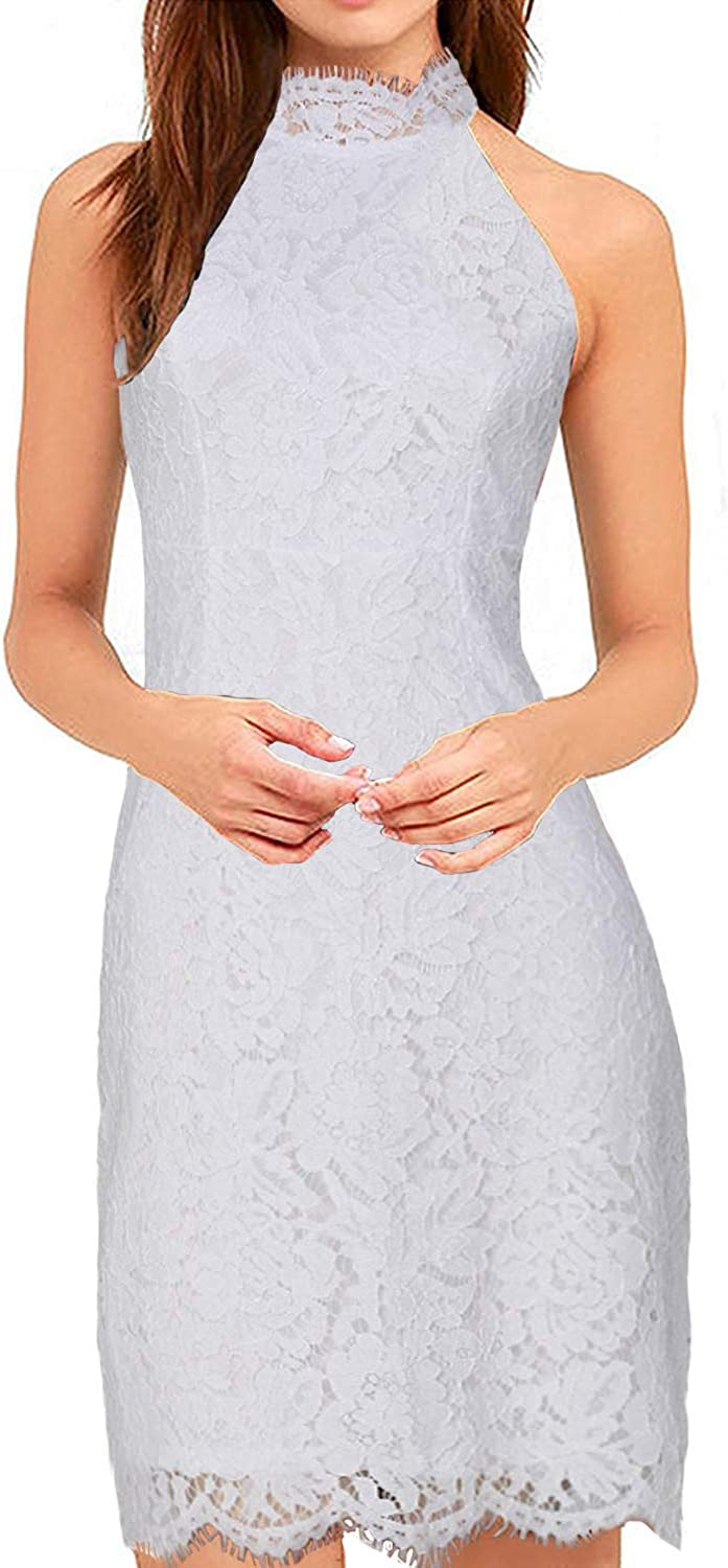 YIXUAN Women's Casual Sleeveless Neck Floral Elegant Cocktail Lace Party Dress