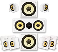 Acoustic Audio by Goldwood HD725 Flush Mount in-Wall/Ceiling Home Theater 7.2 Surround Sound 5.25 Inch Speakers (9 Speaker...