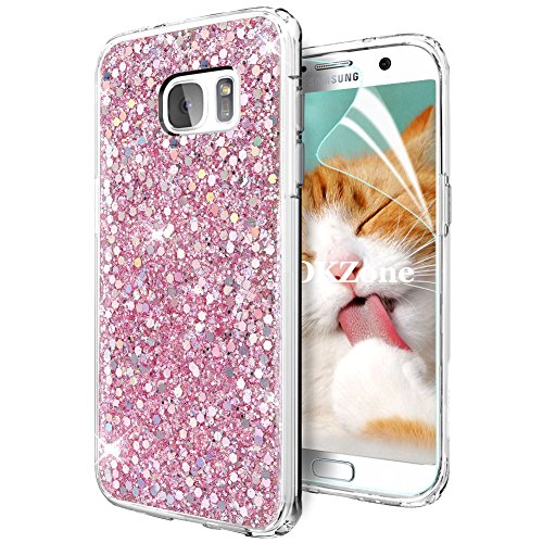 OKZone Funda Samsung Galaxy S7 Carcasa Purpurina, Cárcasa Brilla Glitter Brillante TPU Silicona Teléfono Smartphone Móvil Case [Protección a Pantalla y Cámara] para Samsung Galaxy S7 (Rosado)