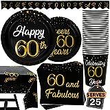 102 Artículos de Decoración para Cumpleaños Número 60 Accesorios para Fiesta Set de Platos, Vasos, Servilletas, Pancarta y Mantel, Accesorios para 25 Personas