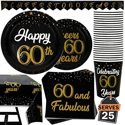Set 102 Pezzi Servizio da Tavola Festa del 60 Esimo Compleanno, Centrotavola, Piatti, Tazze, Tovaglioli e Tovaglia, Serve 25 Persone