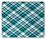 Ambesonne Plaid Mouse Pad, Tartan Pattern from Checkered Like Layout Classic Striped Squares, Rectangle Non-Slip Rubber Mousepad, Standard Size, Petrol Blue and Pale Blue