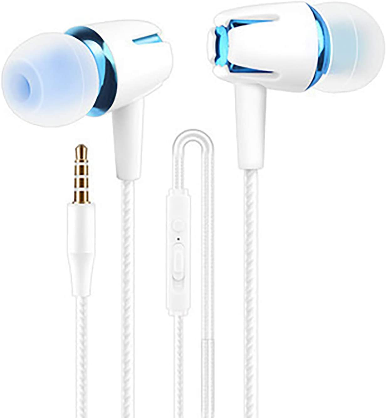 LUYANhapy9 Wired Earphones,Comfortable Noise Reduction Earbuds Stereo Lightweight Fits All 3.5mm Interface Device in-Ear Wired Earbuds for Sports Blue One Size
