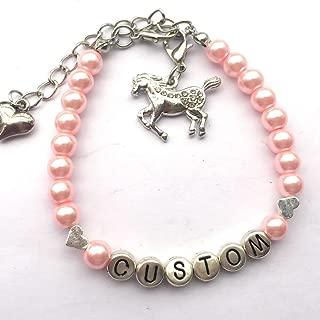 Personalized Name Bracelet for Horse Unicorn Horseshoe Lovers Handmade by 6mm Simulated Pearls Beaded Star Heart Flower Rhinestone Ball