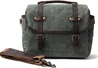 Vintage Canvas Camera Bag DSLR SLR Messenger Bag Leather Shoulder Satchel with Camera Insert for Men and Women,Green,34 * 17 * 24cm