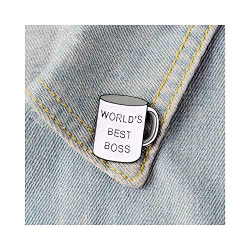 """smilecoco Anstecknadel mit Aufschrift """"World's Best Boss"""", Emaille, Kaffeetasse, Broschen, Pastellfarben, Jeans-Shirt, Punk, Cartoon, lustiger Schmuck, Geschenk"""