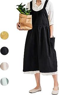 NOOS Soft Cotton Linen Apron Black Pinafore Dress, Halter Cross Bandage Aprons Cooking, Fashion Coffee Shop Waist Kitchen Aprons & Women Apron for Cooking,Maid Apron Baking, Gardening 32X43 Inch