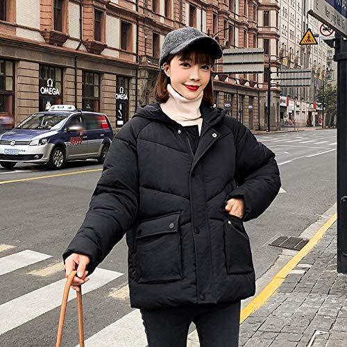 LnNyRf À Capuche en Fourrure Parker Velvet Fashion Manteau Manteau d'hiver de Poche vers Le Bas Veste Veste Confortable Manteau Chaud Manteau extérieur (Color : Black, Size : L)