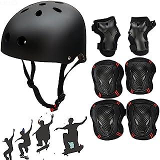 SymbolLife Adjustable Skateboard / Skate Helmet with Protective Gear Knee Pads Elbow Pads Wrist Guards for BMX, Skateboard, Scooter, Bike, Roller (Black(Set), Large)