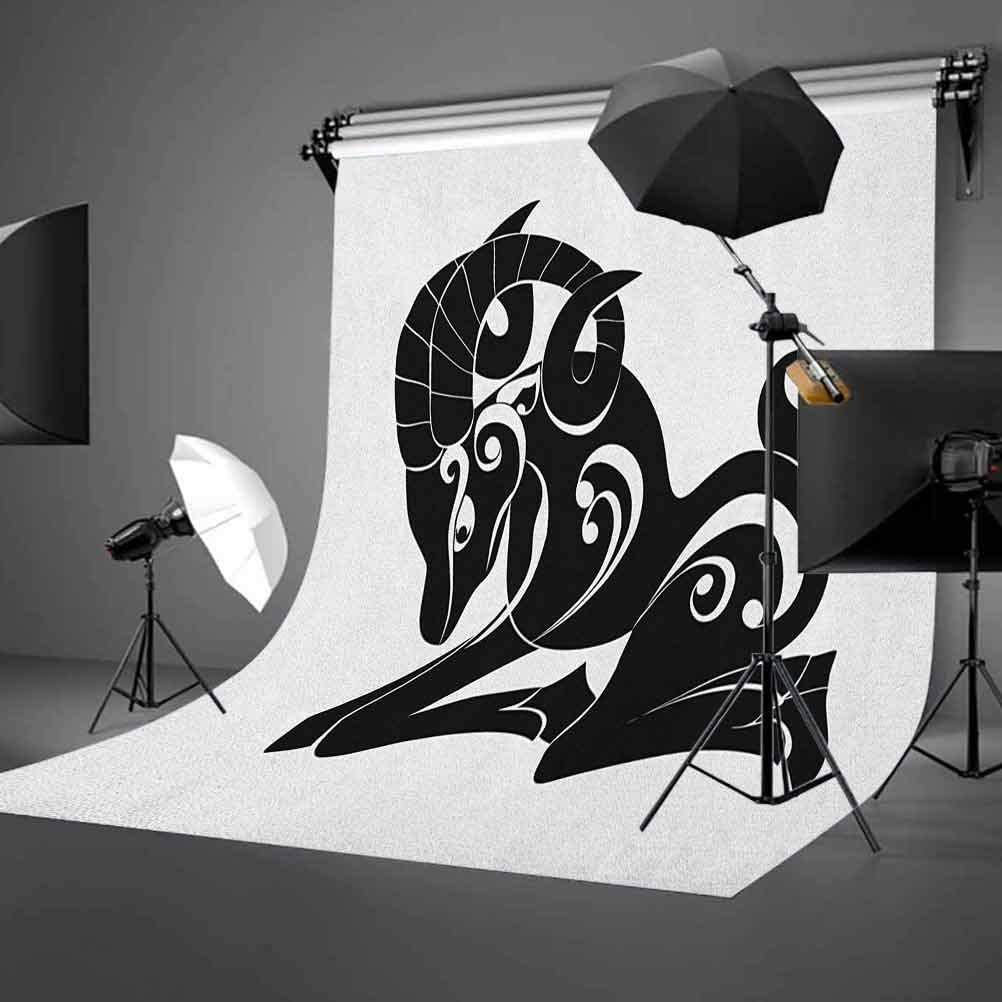 8x12 FT Zodiac Aries Vinyl Photography Backdrop,Abstract Monochrome Goat Figure Swirled Horns and Floral Curly Details Background for Baby Birthday Party Wedding Studio Props Photography