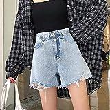 ShSnnwrl Pantaloncini da Donna Shorts Women Fur-Lined Hole Loose all-Match Fashion Students Street Style Denim High Waist Girls Summer XXL Ablue