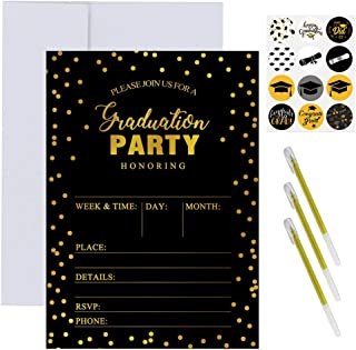 Supla 50 Set Graduation Party Invitation Cards Black and Gold Foil Graduation Announcement Cards Grad Party Invitations with Envelopes Stickers Pens for High School College Graduation Party Favors