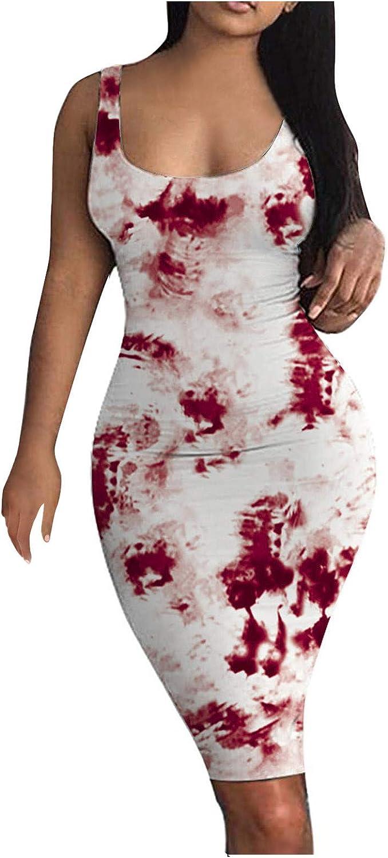 online shop FNJJLU Summer Dresses for San Francisco Mall Women Sexy Ruched Bodycon Dress Tank