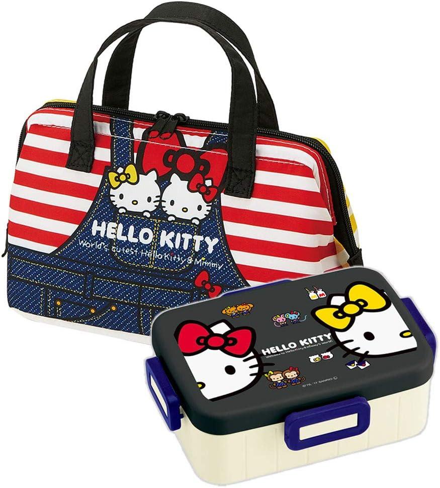 Hello 4 years warranty Kitty - Japanese Max 45% OFF Bento Box Denim Set Big Lunch 22oz