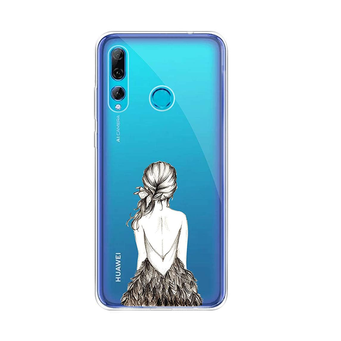 Friendly Dress Transparent TPU Phone Case for Huawei Y9 Prime 2019, KJYF Cover Protection Flexible Bumper Protective Silicone for Huawei Y9 Prime 2019.