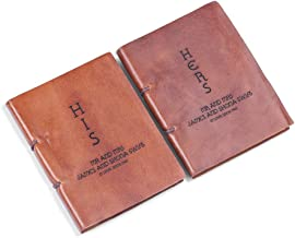 New Town Creative DG Custom His & Hers Leather Journal Set - Personalized Gift Idea Gift for Couples, Bride and Groom, Valentines Gift, Parents and Wedding Anniversary