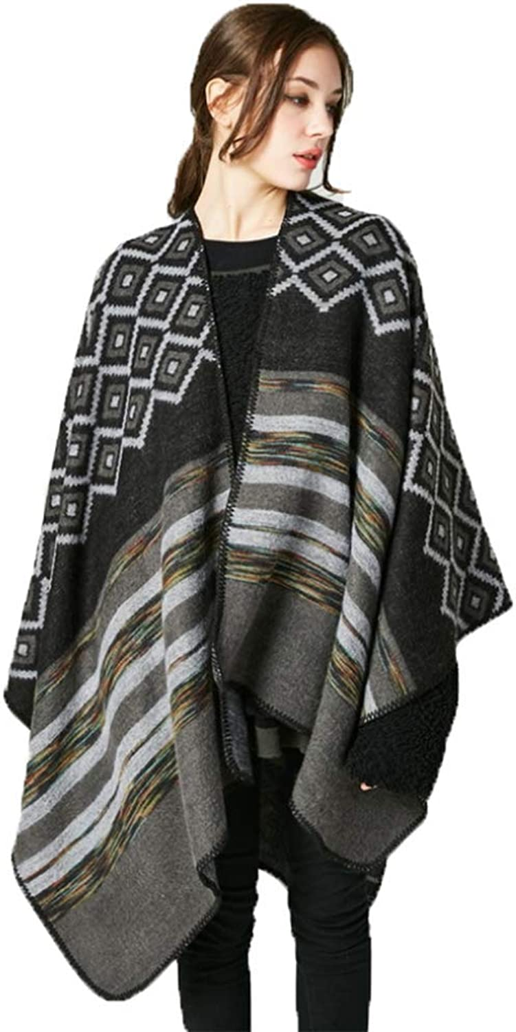 Blanket Shawl Cardigan Coat Women's Fashionable Retro Style Vintage Pattern Poncho Shawl Cape Wrap