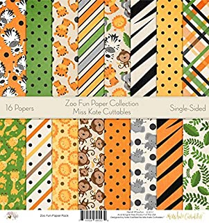 Pattern Paper Pack - Zoo Fun - Scrapbook Premium Specialty Paper Single-Sided 12