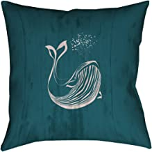 """ArtVerse Katelyn Smith Rustic Blue Whale in Turquoise x 14"""" Pillow- Poly Twill Double sided Print with Concealed Zipper & ..."""