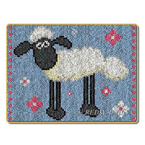 Kit de ganchos para alfombras grandes para adultos y adultos, bordado con gancho, sin terminar, para adultos, niños, padres, niñas, ovejas, 50,8 x 38,1 cm
