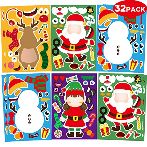 32 Sheets Christmas Party Games Stickers for Kids Make Your Own Christmas Stickers, Kids Christmas Activities Sticker with Christmas Santa Snowman Reindeer Elf for Kids Holiday Christmas Party Favors