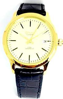 ساعة اوماكس للرجال - رياضية، متعددة الألوان، بمينا لون ذهبي - بسوار من الجلد - مقاومة للماء - Beeb1240