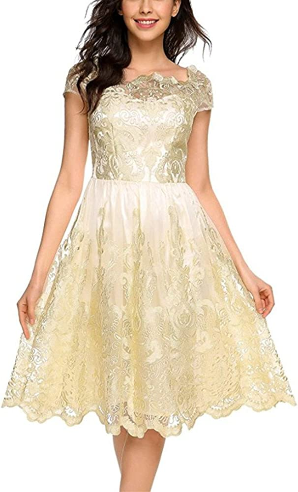 BeneGreat Women's Vintage Floral Lace Cocktail Homcoming Party Swing Dress