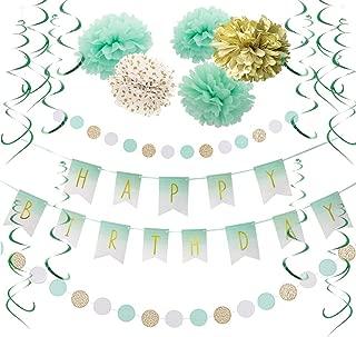 Mint Gold Birthday Decorations Mint White Happy Birthday Banner Tissue Paper Pom Poms Flowers Green Hanging Swirls Baby Shower 1st Birthday Bridal Shower Party Supplies SUNBEAUTY