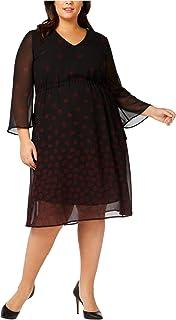 Anne Klein womens PLUS LONG SLEEVE DRAWSTRING MIDI DRESS Dress