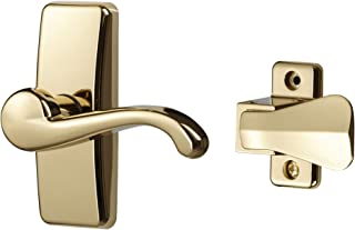 Ideal Security Inc. SKGLWBB GL Lever Set for Storm and Screen Doors Touch of Class, Easy to Install, 2-Piece, Bright Brass