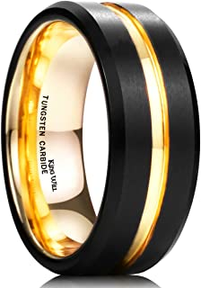Duo Mens 7mm 8mm Tungsten Carbide Ring Rose Gold/Yellow Gold/Blue/Plated Intermediate Groove Wedding Band