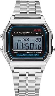 Delicate LED Digital Watch Stainless Steel Strap Alarm Wrist Watch Dress Business Wrist Watch For Men Women
