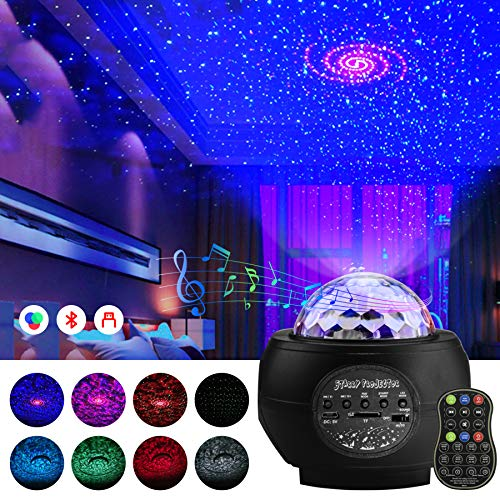 Star Projector Night Light - UZOPI Ocean Wave Starry Projector with Bluetooth Speaker, Remote Control, LED Nebula Cloud for Kids Bedroom, Home Theatre, Game Room Light Ambiance (Black)
