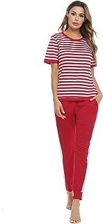 Aibrou Women's 100% Cotton 2 Piece Outfits Set Casual Short Sleeve Striped Sweatsuit