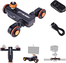YELANGU Motorized Autodolly Video Slider with Remote, Rechargeable, 3 Speed Adjust for GoPro and iPhone Camera Weight Up to 3kgs(Black) Shooting with Straight Lines and Surrounding Objects
