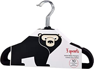 3 Sprouts Baby Hangers – Velvet Closet Clothes Organizers for Nursery, Black