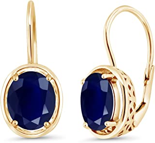 5.00 Ct Oval Blue Sapphire 18K Yellow Gold Plated Silver Dangle Earrings
