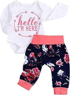 ??Aijoo??6-24ヶ月+赤ちゃん+アルファベット+印紙+長袖+ハット+花+プリント+パンツ+セットhello
