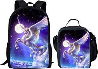 Middle School Backpack With Lunch Bag For Girls Fashion Book Bag Unicorn Galaxy