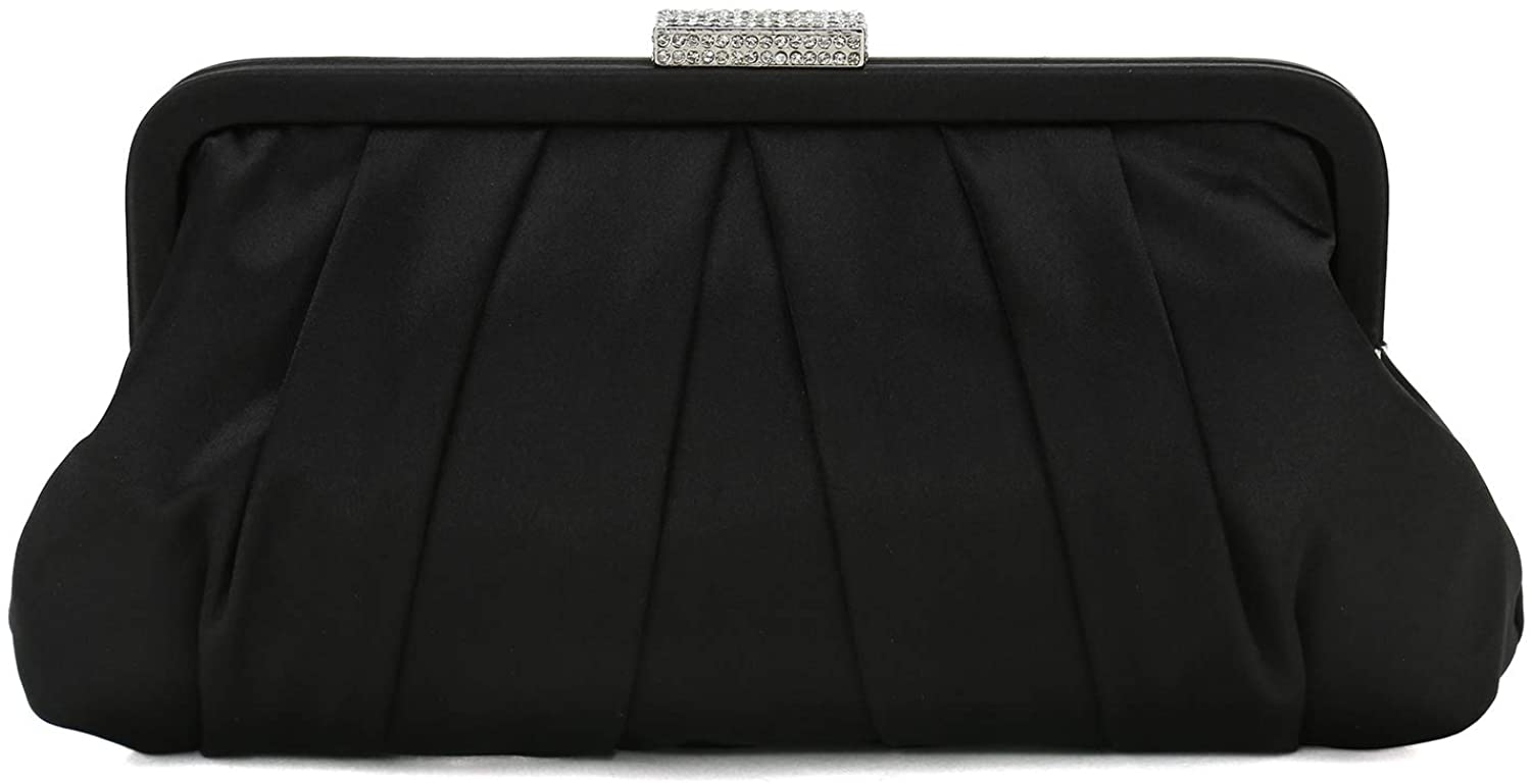 Charming Tailor Classic Pleated Satin Clutch Bag Diamante Embellished Formal Handbag for Wedding/Prom/Black-Tie Events